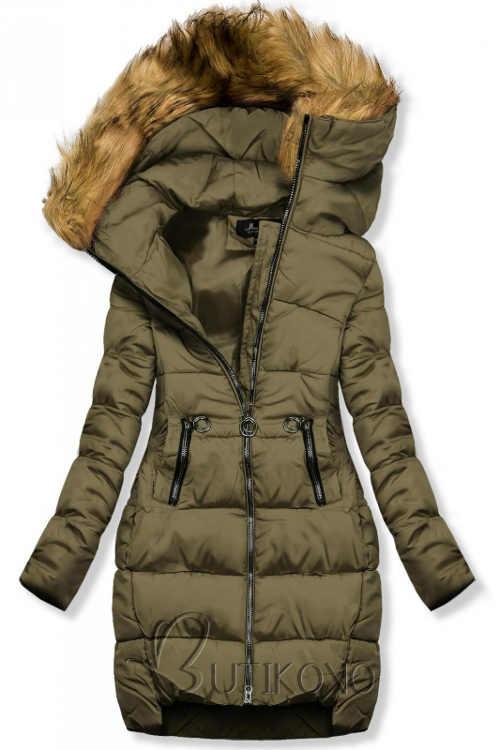 Sportovní khaki prodloužená zimní bunda s kožíškem na kapuci