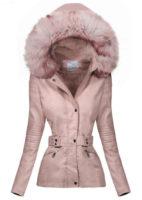 Světle růžová koženková dámská zimní bunda s velkým kožíškem na kapuci