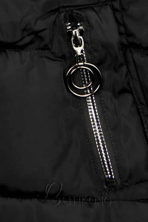 Teplá dámská zimní bunda s kapsami na kovový zip