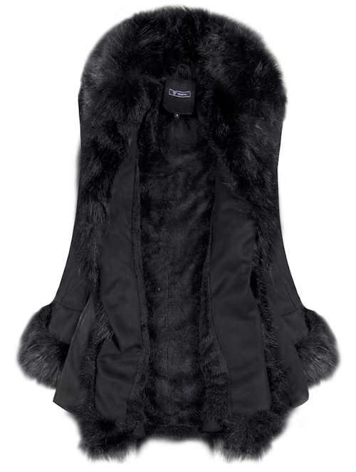 Teplý dámský zimní kabát s kožíškem
