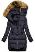 Tmavě modrá dámská zimní bunda prodlouženého střihu