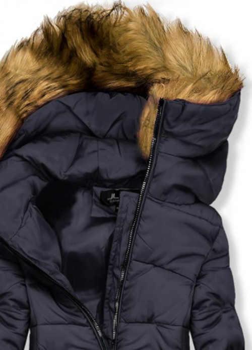 Tmavě modrá dámská zimní bunda s liškou na kapuci