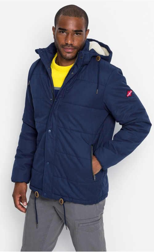 Tmavě modrá pánská zimní prošívaná bunda s kožíškem i v kapuci