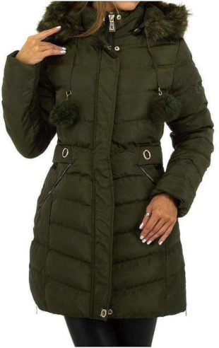 Tmavě zelená prodloužená dámská zimní prošívaná bunda
