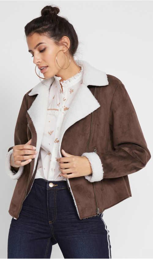 Trendy dámská zimní bunda z umělé kůže