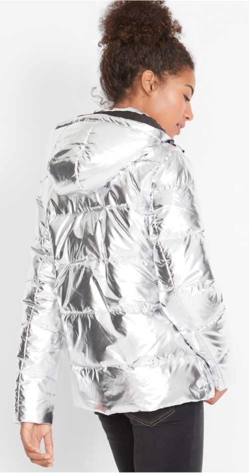 Trendy stříbrná dámská zimní bunda