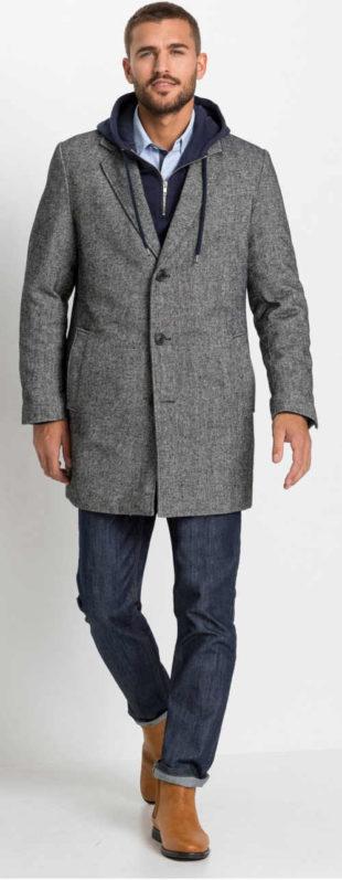 Vlněný pánský kabát šedý melír