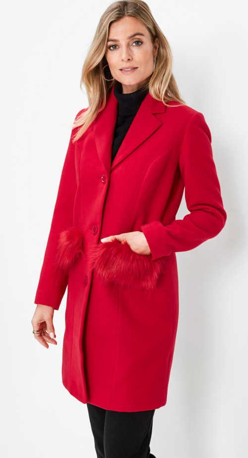 Červený dámský zimní kabát Bonprix