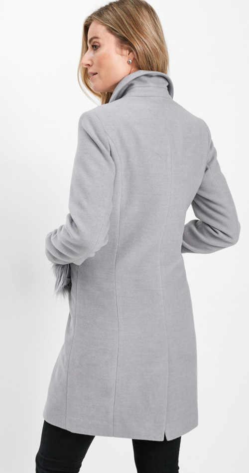 Elegantní šedý dámský zimní kabát