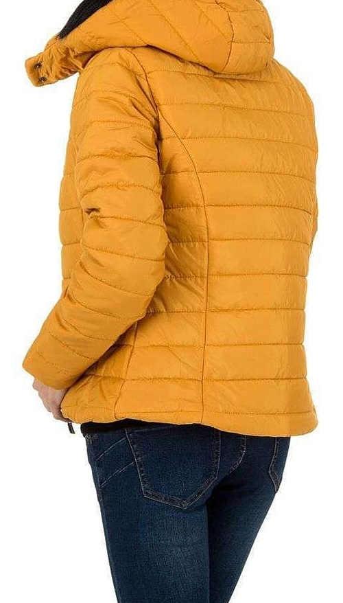 Oranžová dámská zimní bunda s kapucí a délkou do pasu