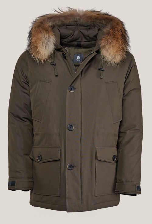 Pánská zimní bunda Kara s kožešinou z mývalovce