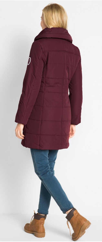 Prošívaná prodloužená dámská zimní bunda javorové barvy