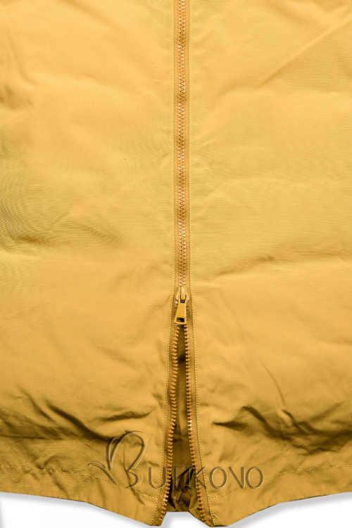 Žlutá dámská zimní bunda s dvoucestným zipem