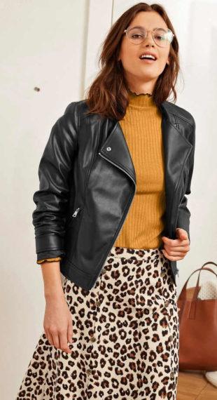 Černá kožená dámská bunda se zipy