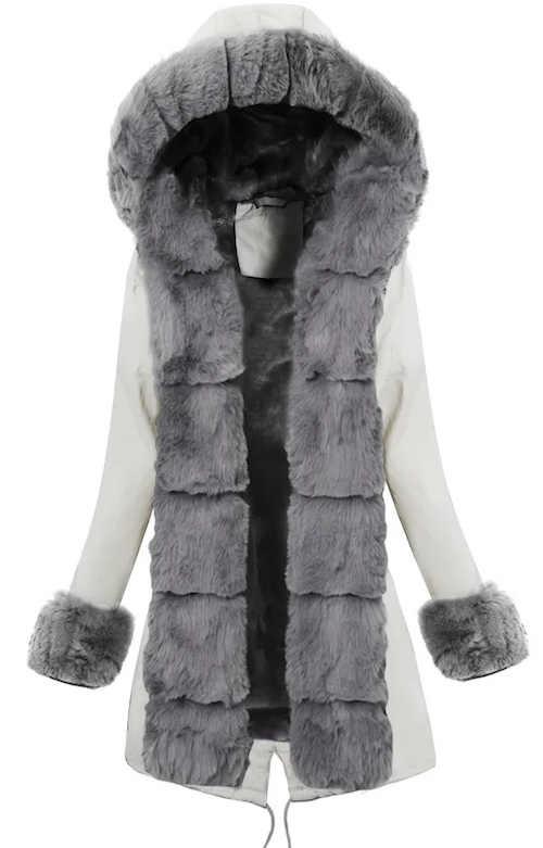 Delší bílá dámská zimní bunda s hřejivým šedým kožíškem