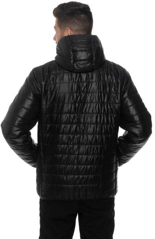 Jednobarevná černá pánská zimní prošívaná bunda