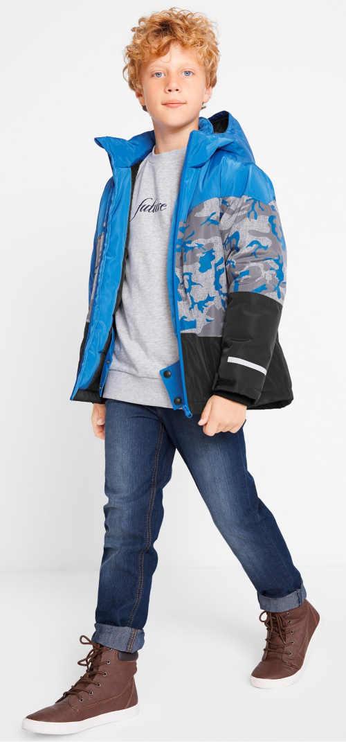 Klučičí modro-šedo-černá zimní bunda bonprix
