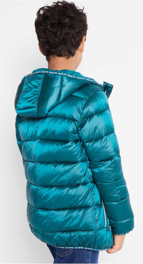 Lesklá tyrkysová dětská zimní bunda