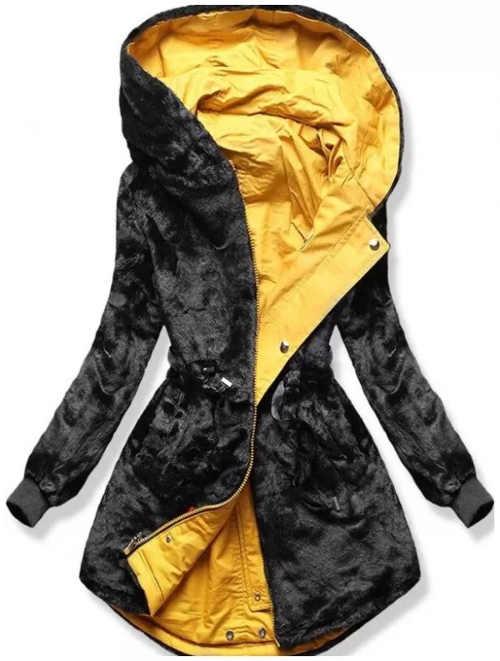 Oboustranná žluto černá dámská zimní bunda