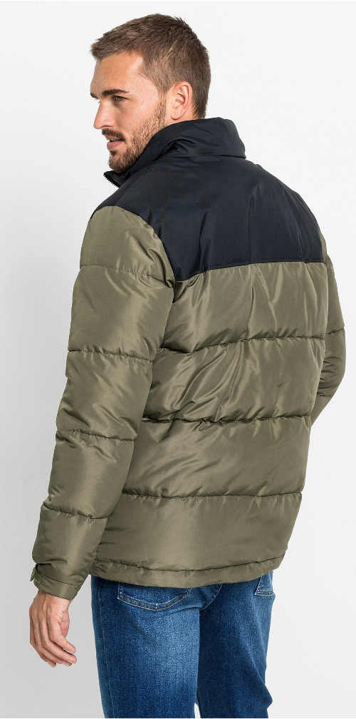 Olivovo černá pánská zimní bunda
