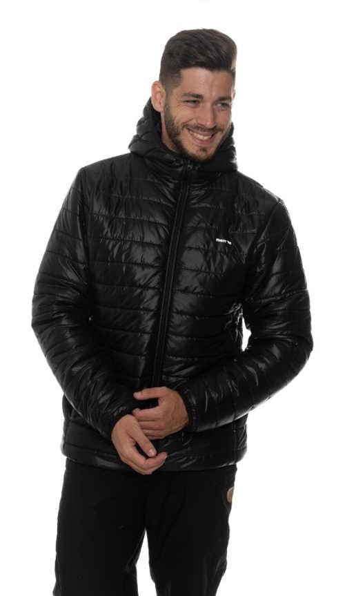 Pánská černá prošívaná bunda s kapucí
