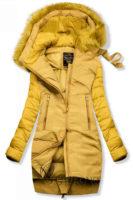 Prošívaná žlutá zimní bunda volného střihu