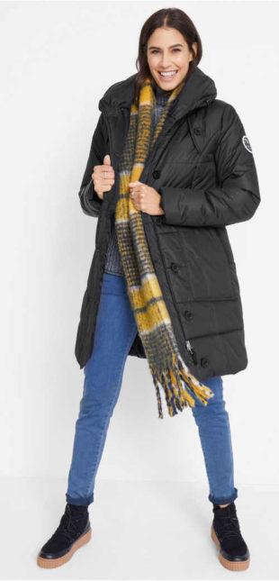 Teplý prošívaný dámský zimní kabát