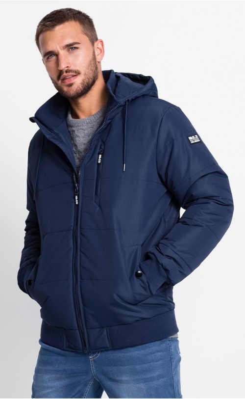 Tmavě modrá jemně prošívaná pánská zimní bunda