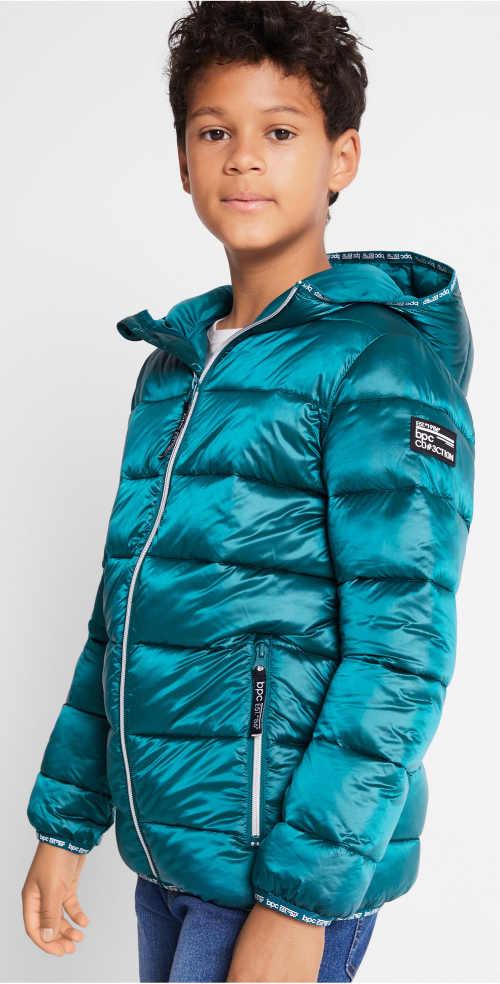 Tyrkysová prošívaná dětská zimní bunda