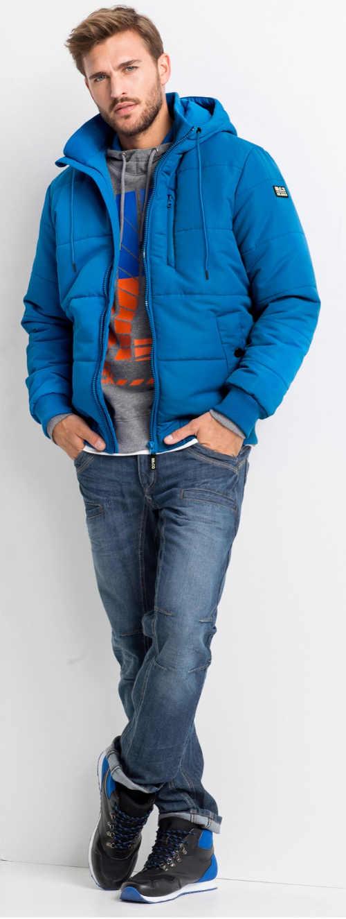 Tyrkysově modrá pánská zimní bunda do pasu