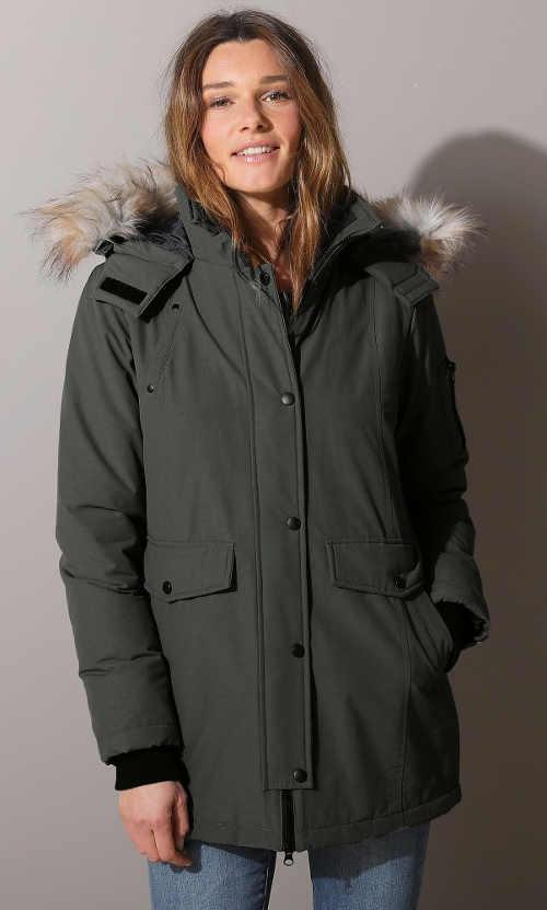 Zeleno-šedá delší dámská zimní bunda