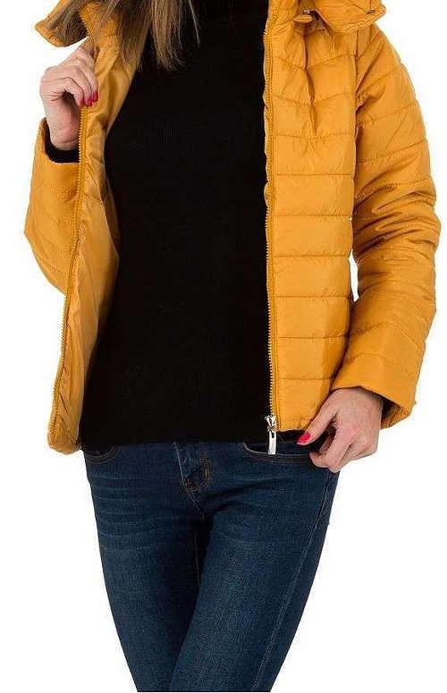 Žluto-oranžová lehčí prošívaná dámská zimní bunda Milas