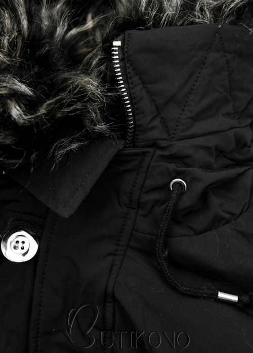 Dámský bomber s kapucí zdobenou kožešinou