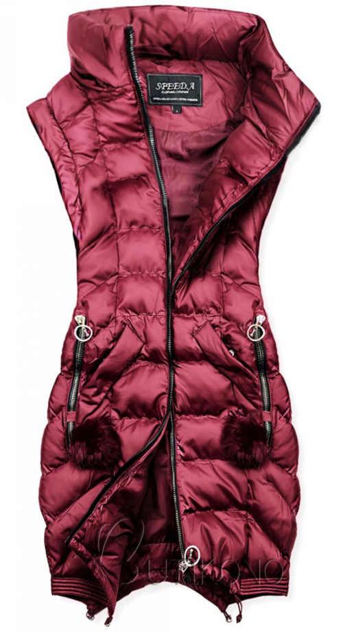Fialová prošívaná dámská zimní vesta