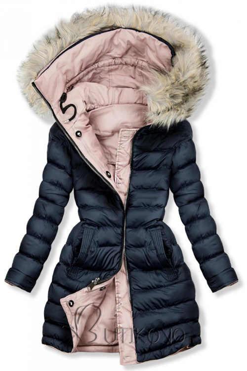 Modro-ruzova-oboustranna-damska-zimni-prosivana-bunda