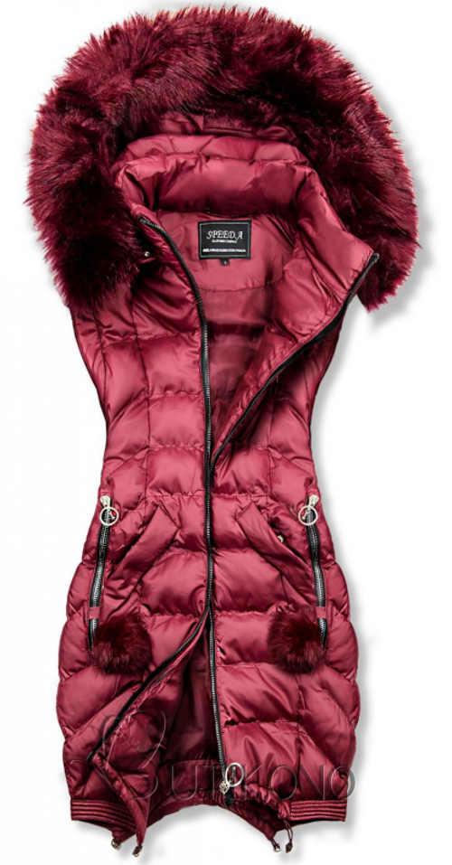 Vínová dámská zimní vesta s kapucí a kožíškem