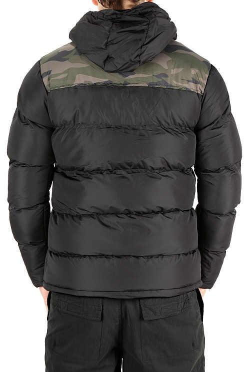 Zlevněná pánská černá prošívaná zimní bunda