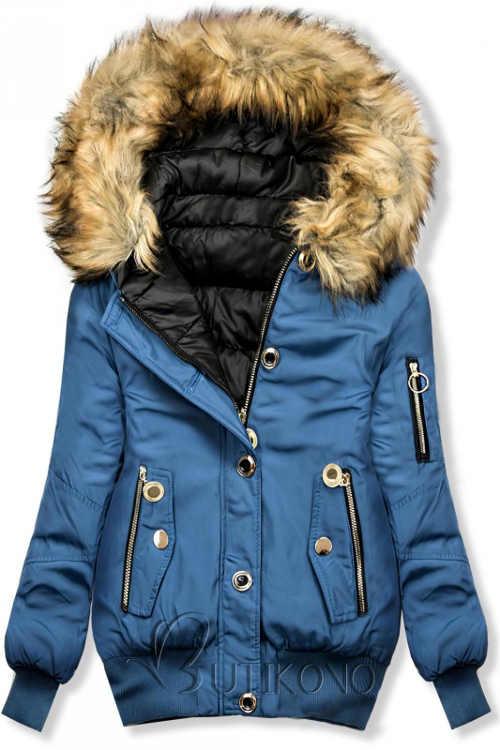 Bomber dámská zimní bunda světle modré barvy