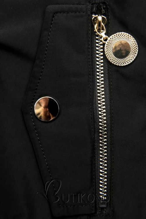 Černá zimní bunda s ozdobnými kapsami na kovový zip