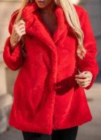 Červený plyšový dámský kabát s délkou do pasu
