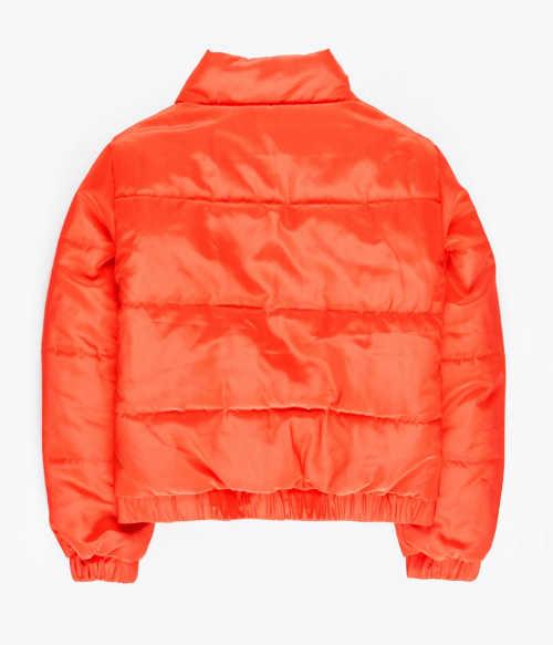 Dětská zimní bunda neonově oranžové barvy