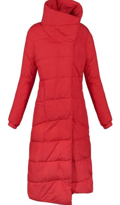 Dlouhý červený zavinovací zimní kabát