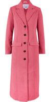 Dlouhý dámský růžový kabát