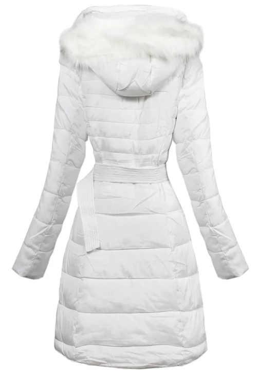 Jednobarevná dlouhá bílá zimní bunda s opaskem