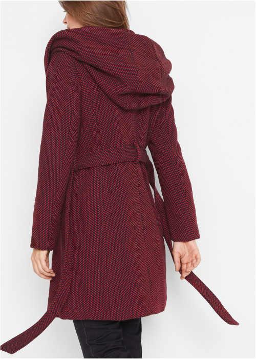 Fialový dámský zimní kabát s opaskem