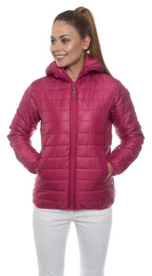 Fuchsivě fialová prošívaná dámská zimní bunda s délkou do pasu