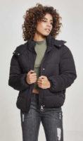 Jednobarevná černá dámská prošívaná zimní bunda Urban Classic