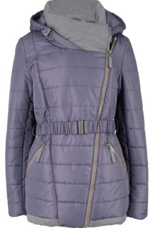 Krátký zimní prošívaný kabát se šikmým zipem