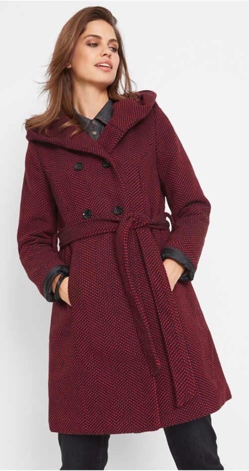 Luxusní vlněný dámský kabát s kapucí