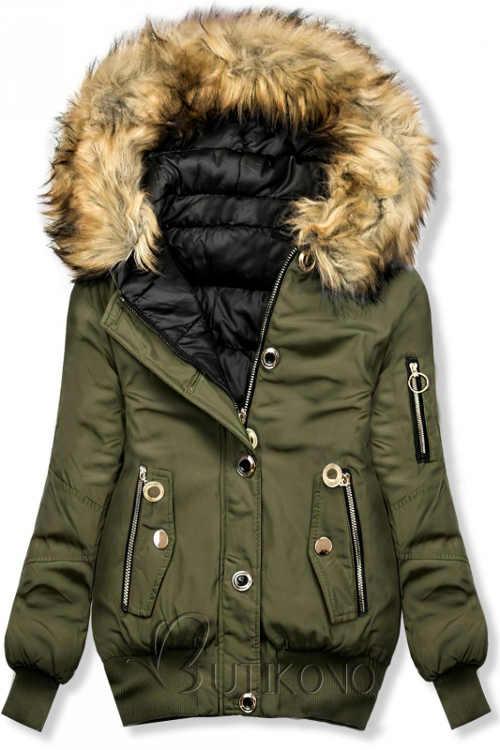 Oboustráná dámská khaki bomber bunda